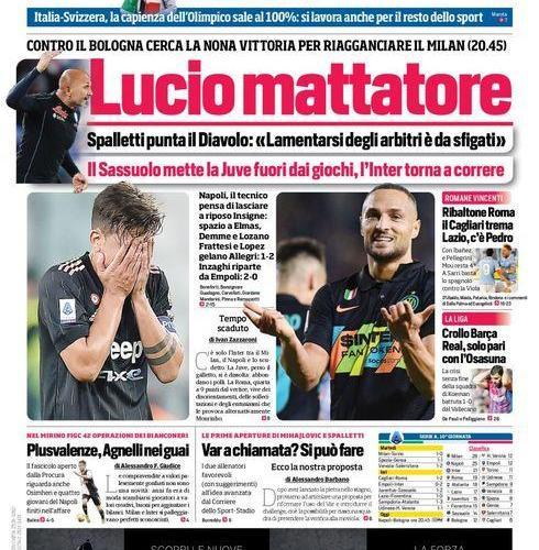 Prima Pagina Corriere dello Sport edizione campania 28 Ottobre