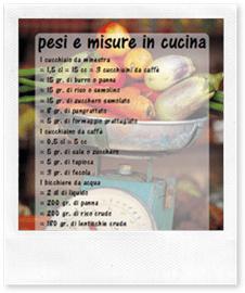pesi e misure in cucina, clicca per scaricare il planning