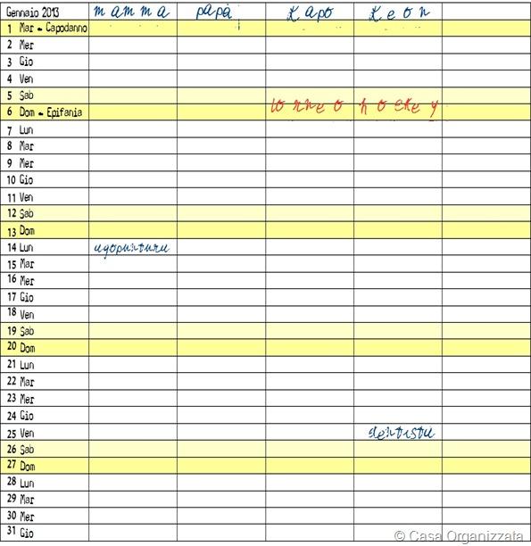 Per il 2013 arriva il Calendario Organizzato