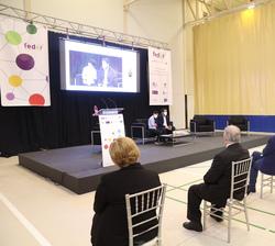 Doña Letizia durante la ponencia de la Fundación Rafa Puede
