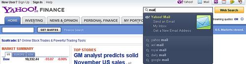 Comandos en Yahoo! Search