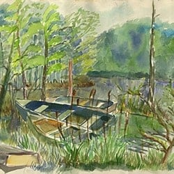 Casart coverings Canoes in Cattails – Katherine Collection