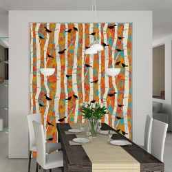 Casart coverings Birds & Birch in Modern Dining Room_temporary wallpaper