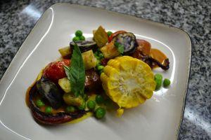 Confit of Humboldt Squid, Andean Root Vegetables, Spicy Herb Sauce