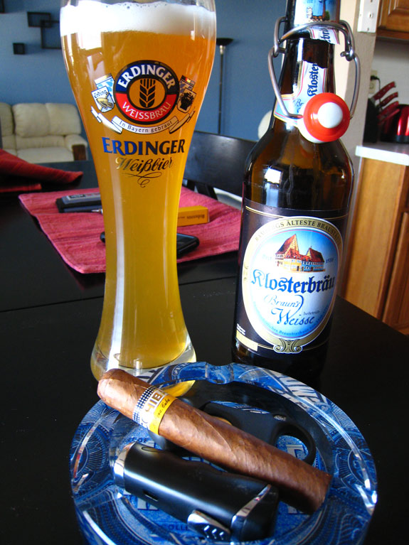 Cohiba Robustos and Klosterbrau Braun's Weisse