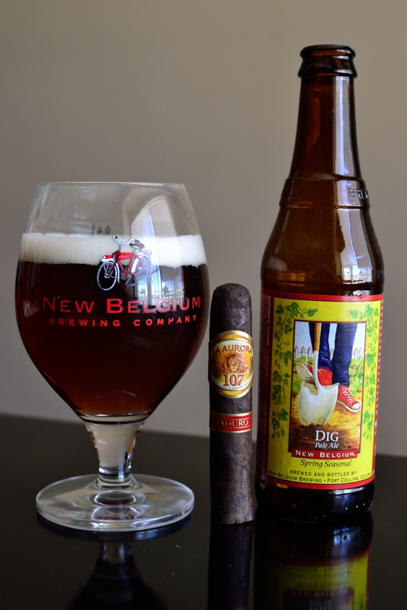 La Aurora 107 Maduro with New Belgium's Dig