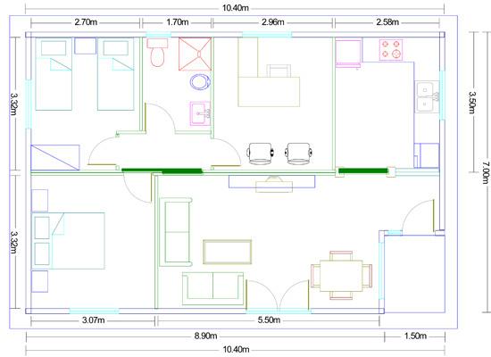 Plano vivienda de madera málaga 70