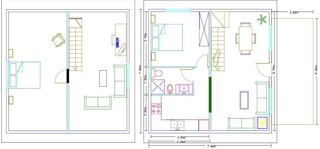 plano Casa de madera modelo málaga