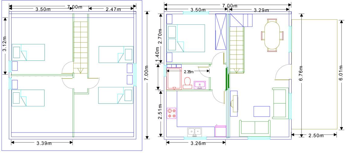 plano Vivienda modular de madera