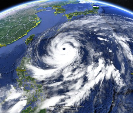 Typhoon Vongfong on Google Earth