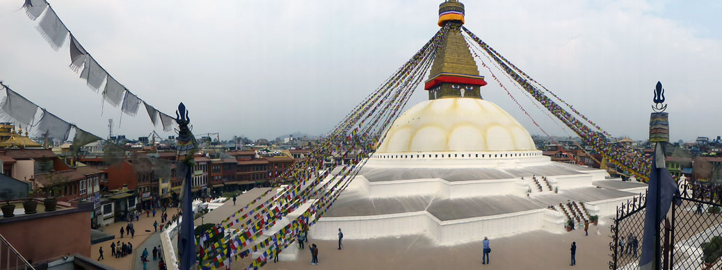 Boudhanath Stupa in Kathmandu when we visited in February