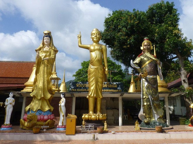 Buddhist statues outside Wat Lamai. The temple is home to a folklore museum  with artifacts from Samui's history.
