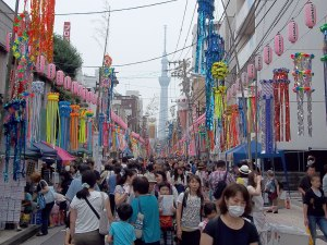 Tokyo Skytree is the backdrop for the Shitamachi Tanabata in Kappabashi