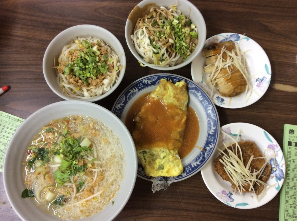 Our last lunch in Taipei was a feast at Sho Yuan Su Shih. We tried a few different noodle dishes and an oyster omelette, a local specialty.
