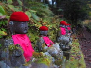 A few of the 70 stone buddhist statues known as Bake Jizo, or Ghost Jizo
