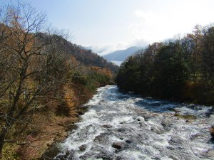 The top of Ryuzu Falls, formed by the lava flow from the eruption of Mt. Nantai more than 7,000 years ago