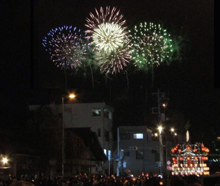 Fireworks and floats at the Chichibu Night Festival in Chichibu, Saitama