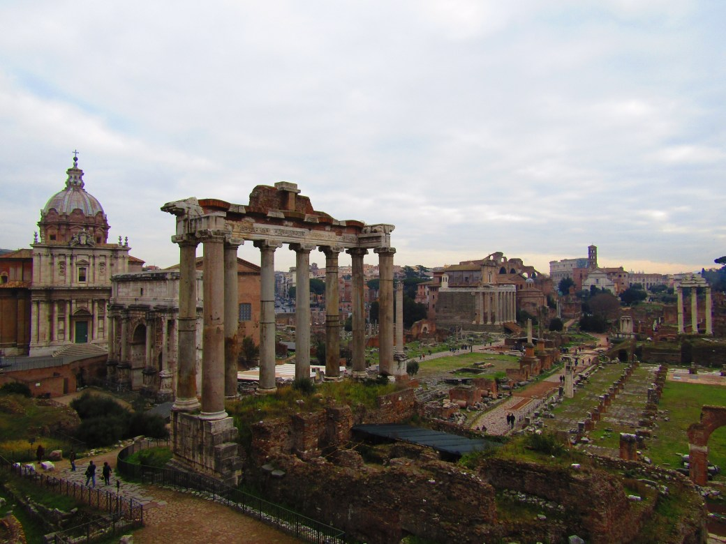 The columns of the Temple of Saturn (between 497-42 B.C.), the Arch of Septimius Severus (203 A.D.) and the Santi Luca e Martina church (625 A.D.) are some of the most famous sights of the ruins of the Roman Forum. For centuries, the Forum was the center of Rome. Today, major excavations and restoration projects are ongoing as the history of the once-great marketplace continues to reveal itself.