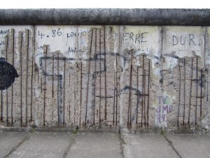 One of the last remaining original stretches of the Berlin Wall at the Berlin Wall Memorial.