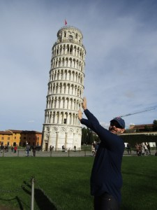 Holding up the tower is a lot of work. That's why the tourists take turns.