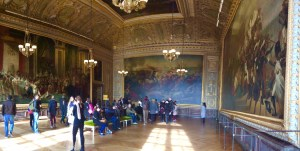 "The Coronation Room holds three massive paintings, including a copy of ""The Coronation of Napoleon."" The original once hung in Versailles, but is now installed at the Louvre. My favorite part of this painting is the depiction of Napoleon's mother in the center. She declined to attend the garish ceremony, but was painted in at her son's request."