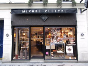 Michel Cluizel's shop on Rue Saint-Honore in Paris's upscale shopping district. The chocolatier specializes in single-origin chocolate and is one of the few chocolate makers in the world to process its own cacao.