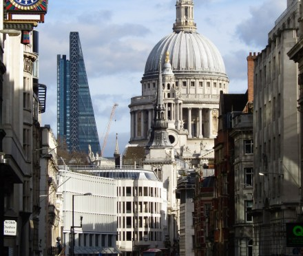 St. Paul's Cathedral fills the skyline on Fleet Street.