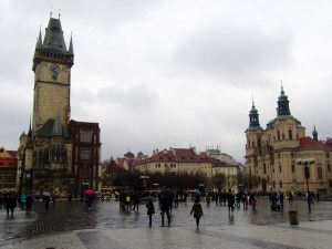Old Town Square. The Old Town Hall is at left, the Church of St. Nicholas is at the right.