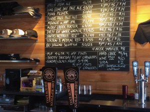 The spring tap list at Deception Brewing in Dundee, Ore.