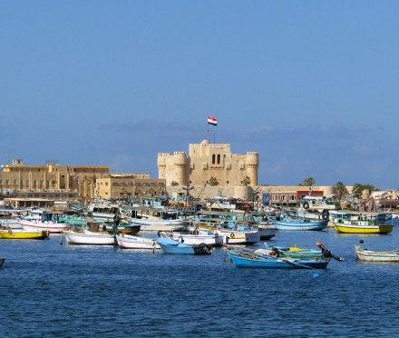 View of the Qaitbay Citadel on Alexandria's Mediterranean coast.