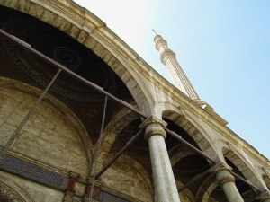 Looking up at one of the minarets. The mosque is one of the most easily recognizable in Cairo.