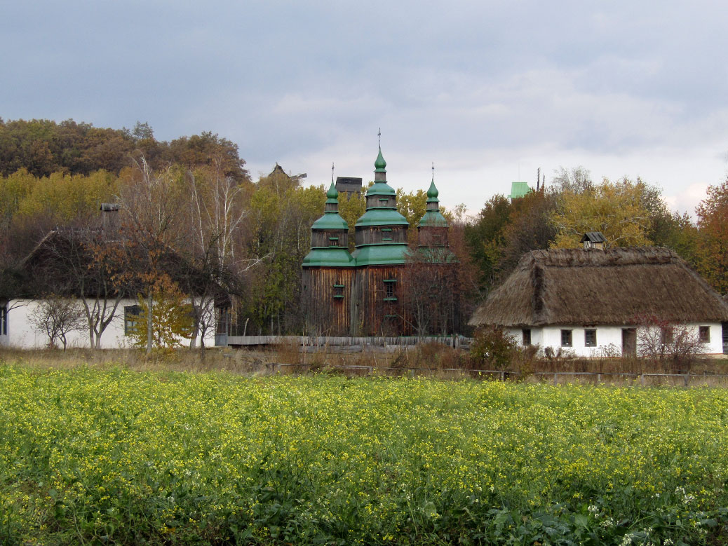 The green-domed Zarubincy village church is from the Cherkassy region and was built in 1742.