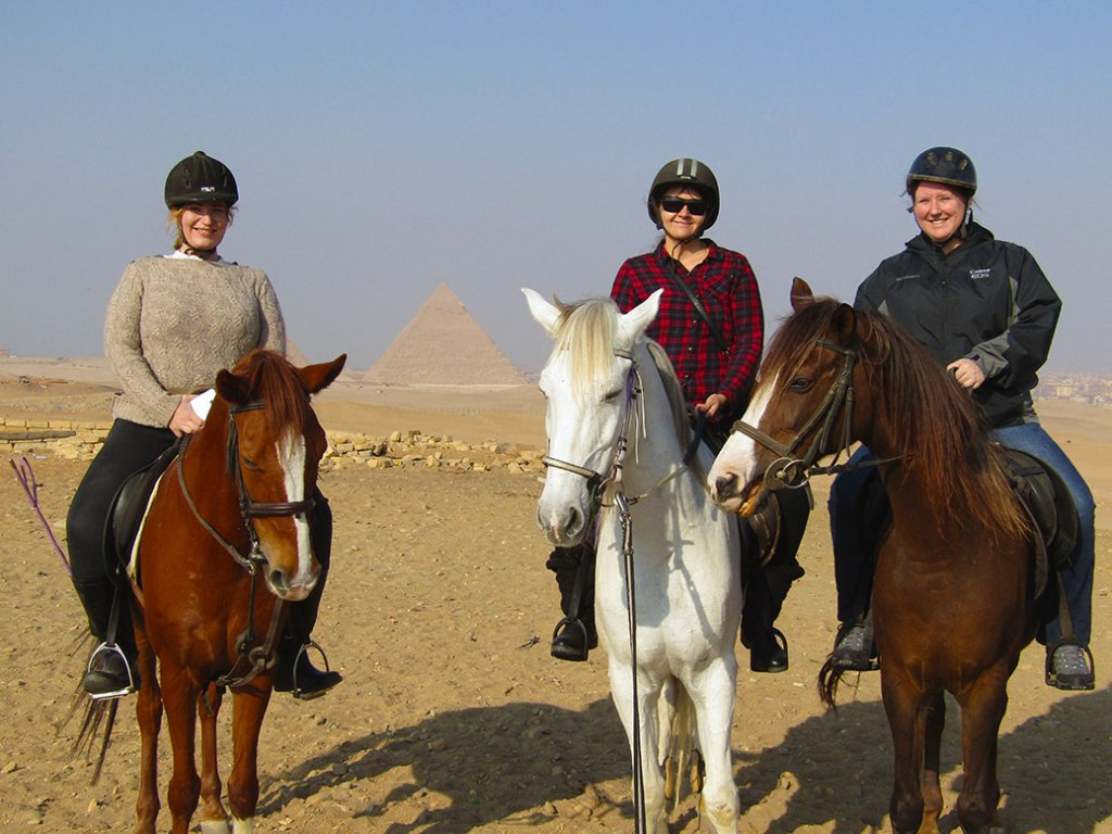 Jenny, me and Becky on our Arabians with the Giza Pyramids in the background.