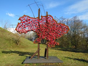 An artistic map of Ukraine with red poppy flowers. Ukraine chose the flower as a remembrance symbol for World War II victims.