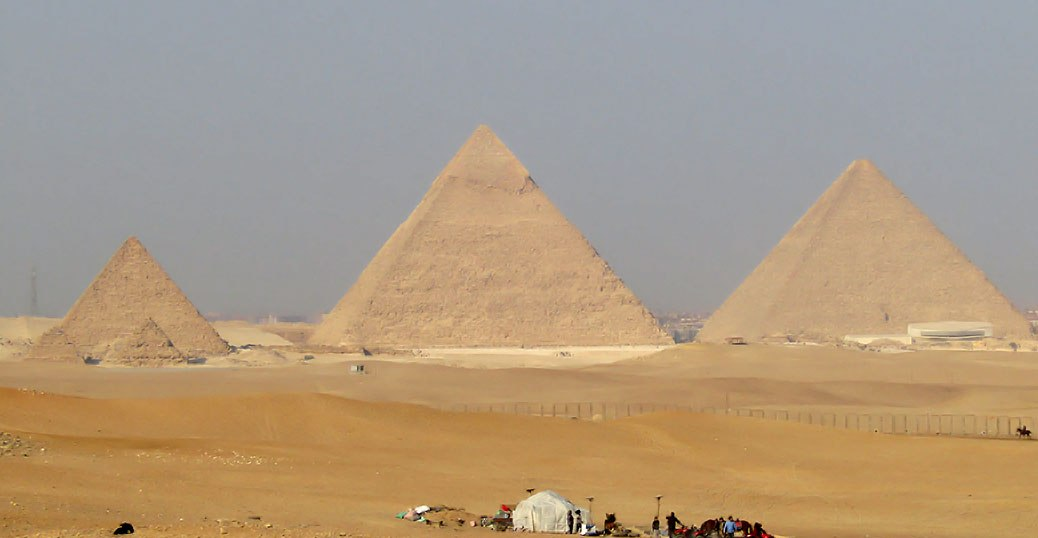 View of Giza's Great Pyramids.