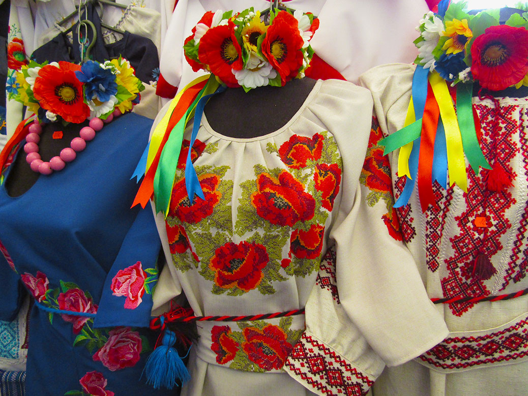 Colorful embroidered dresses and flower crowns.