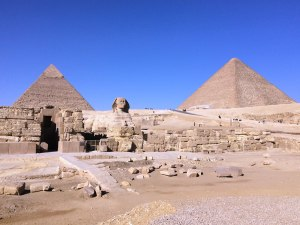 From left to right, Khafre's Pyramid, the Great Sphinx and the Great Pyramid of Khufu.