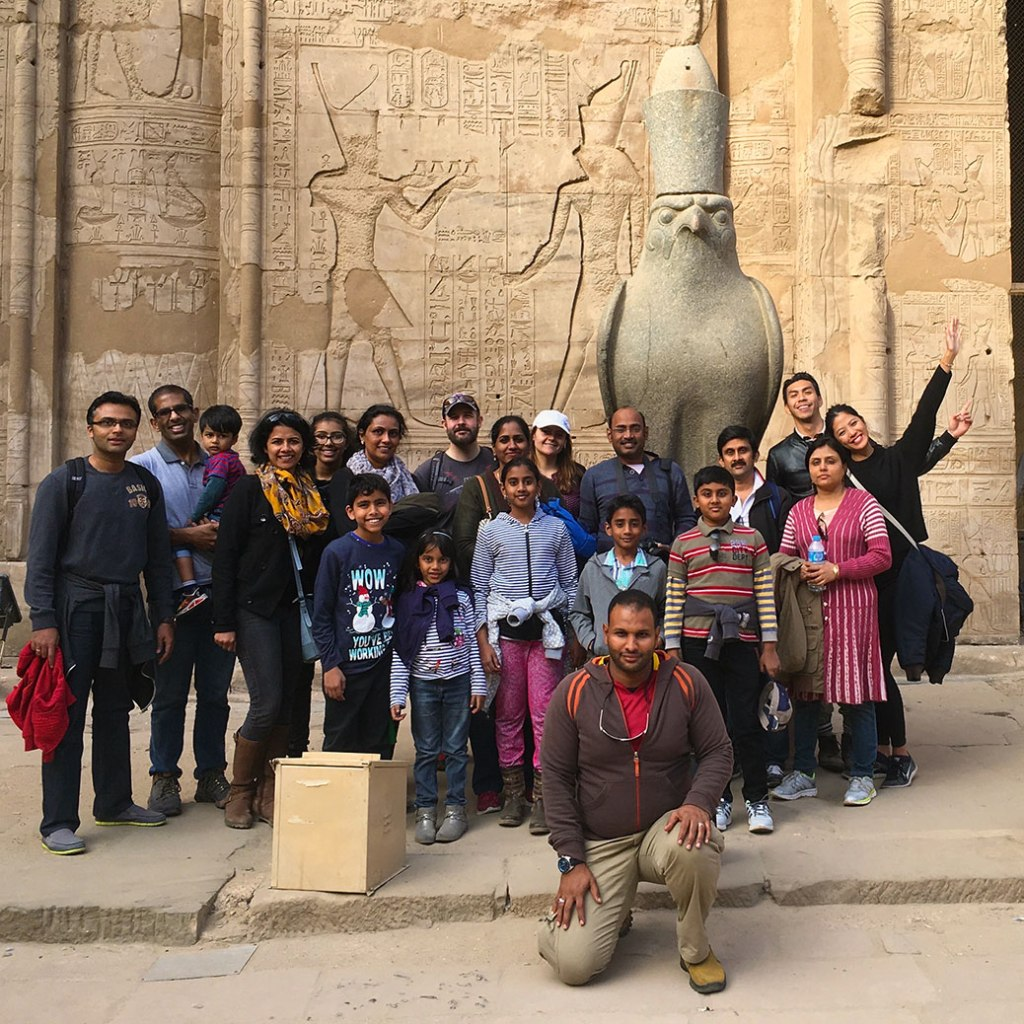 With Horus and our Memphis Tours group at Edfu Temple.