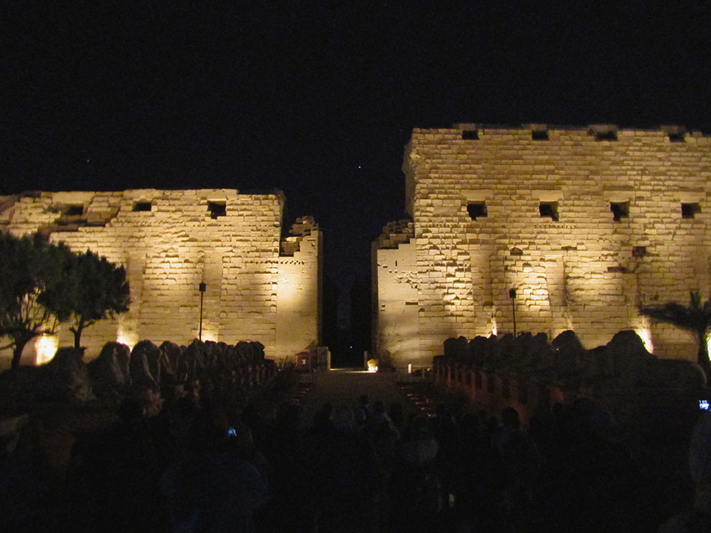 Luxor's Karnak Temple at night during the Sound and Light Show.
