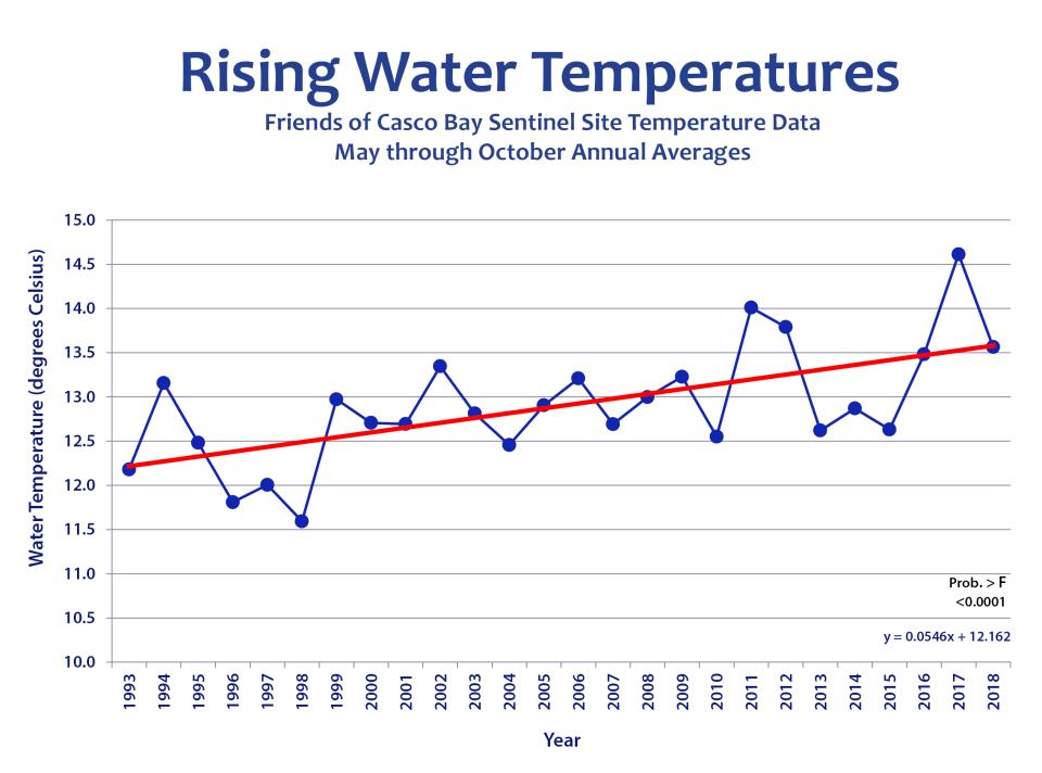 Rising Water Temperatures in Casco Bay