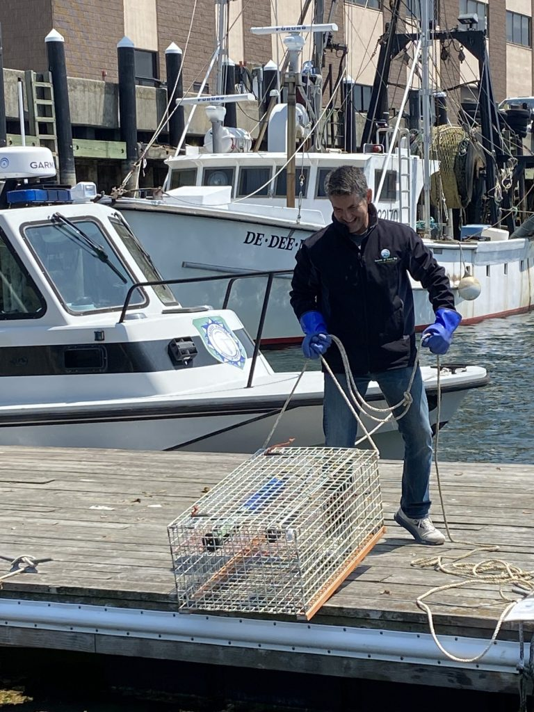 Mike deploys our Portland Harbor Continuous Monitoring Station