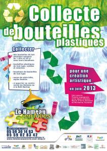 Collecte de bouteilles plastiques. Pour une création artistique. Une ceuvre franco espagnole avec deux artistes Marie-Pierre Delvaux et Norberto Fuentes.