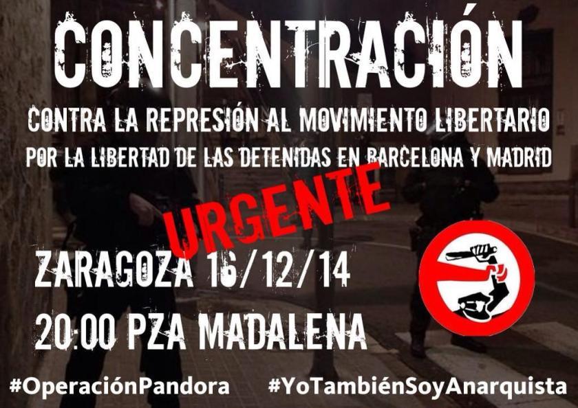 URGENTE: Concentración HOY #Zaragoza en  #PzaMadalena 20h contra la #OperacionPandora y #LeyMordaza #YotambienSoyAnarquista  http://www.kaosenlared.net/component/k2/102192-urgente-operativo-represivo-contra-el-movimiento-libertario-redadas-y-detenciones-en-barcelona-y-madrid