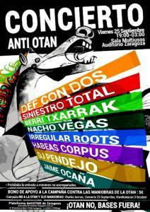 Concierto Anti-OTAN, 25 septiembre 2015, desde 19:00h, Auditorio de Zaragoza.
