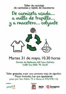 Taller gratuito, reutilización de camisetas viejas a maceteros colgantes.
