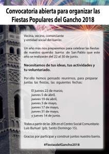 Convocatoria abierta para organizar las Fiestas Populares del Gancho 2018