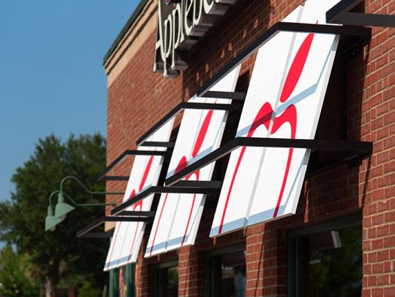 Decorative awnings on an Applebee's restaurant