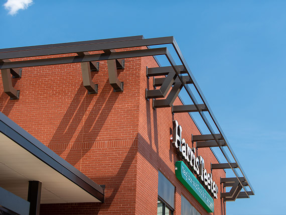 Details of architectural elements on a grocery store.