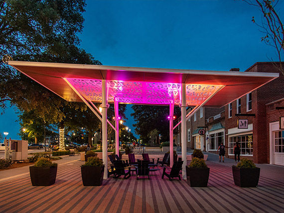 Colorfully lit shelter canopy