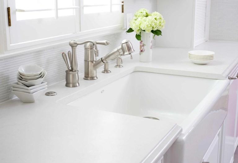 white kitchen farmhouse sink brushed chrome fixtures